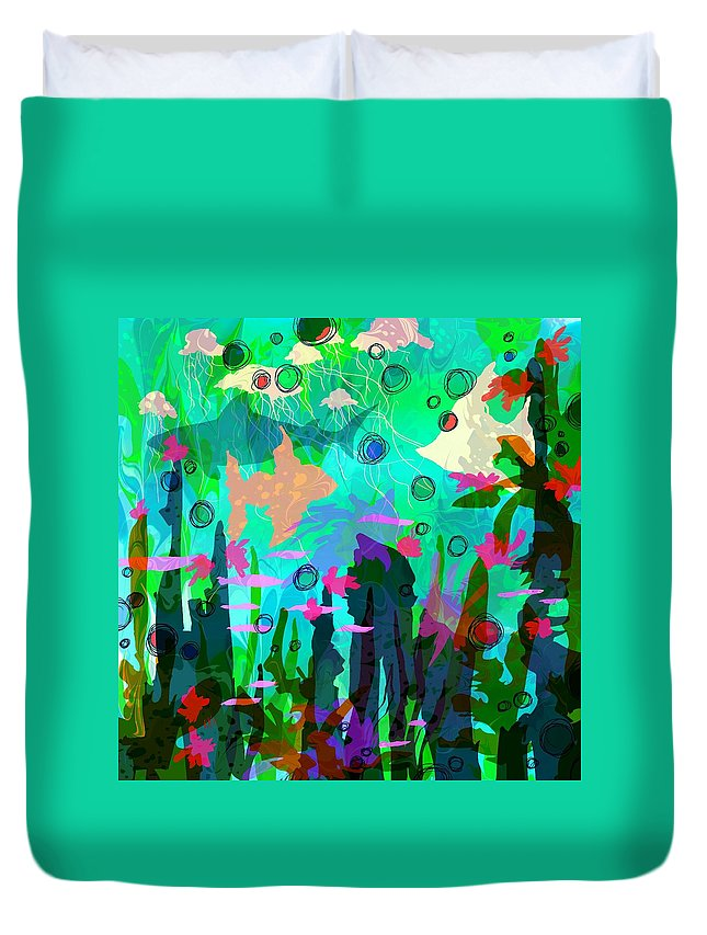 Abstract Duvet Cover featuring the digital art Aquaphoria by Rachel Christine Nowicki