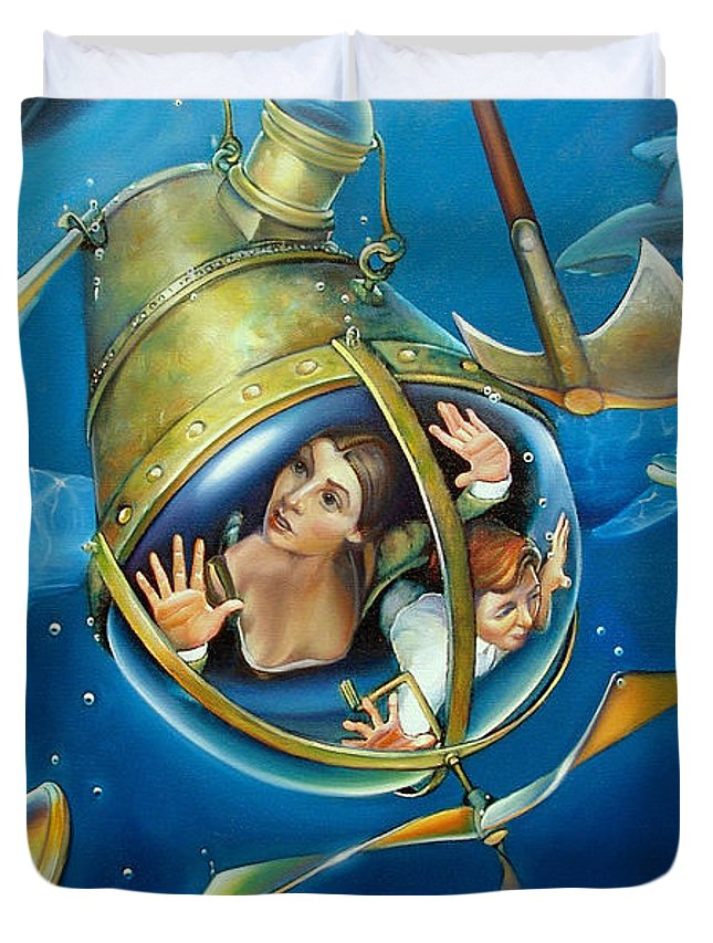 Pirates Duvet Cover featuring the painting Aquaria Rising From Mask Of The Ancient Mariner by Patrick Anthony Pierson