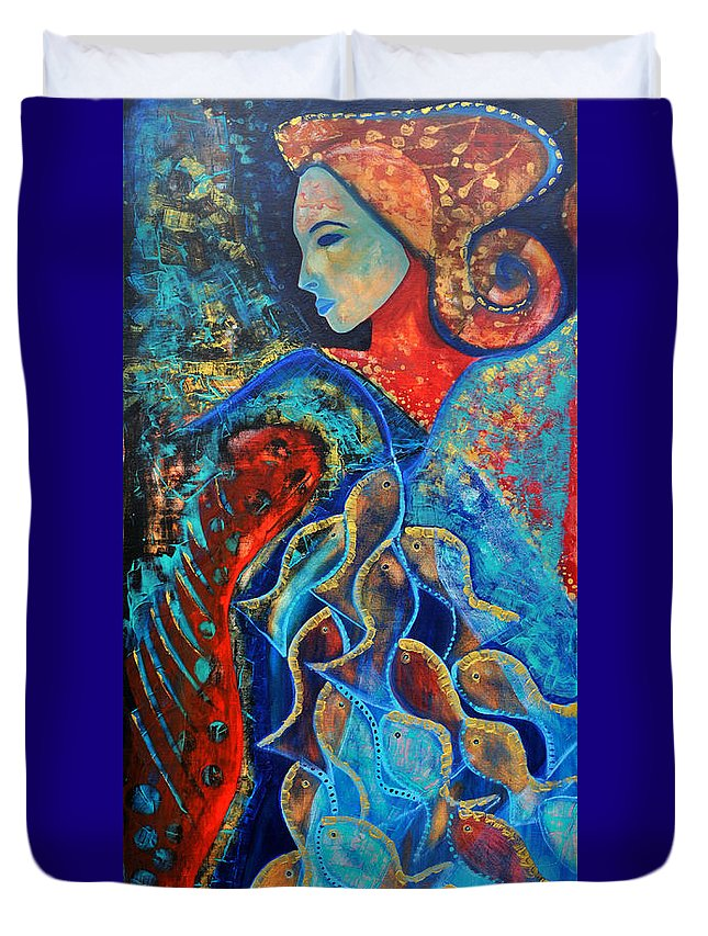 Wasser Duvet Cover featuring the painting Aquarius by Jeanett Rotter