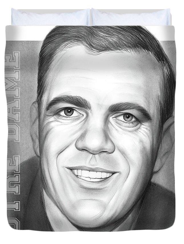 Ara Parseghian Duvet Cover featuring the drawing Ara Parseghian by Greg Joens