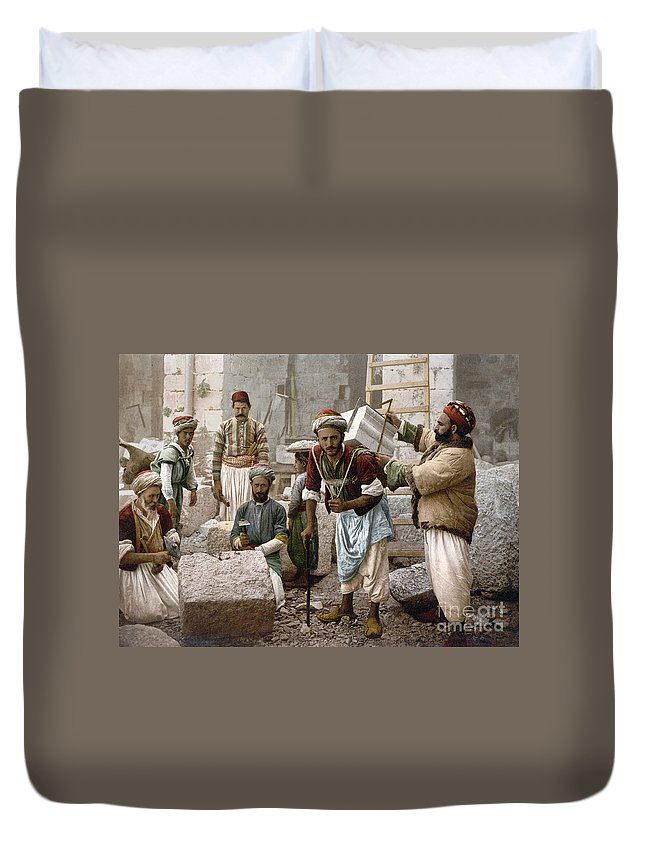1900 Duvet Cover featuring the photograph Arab Stonemasons, C1900 - To License For Professional Use Visit Granger.com by Granger