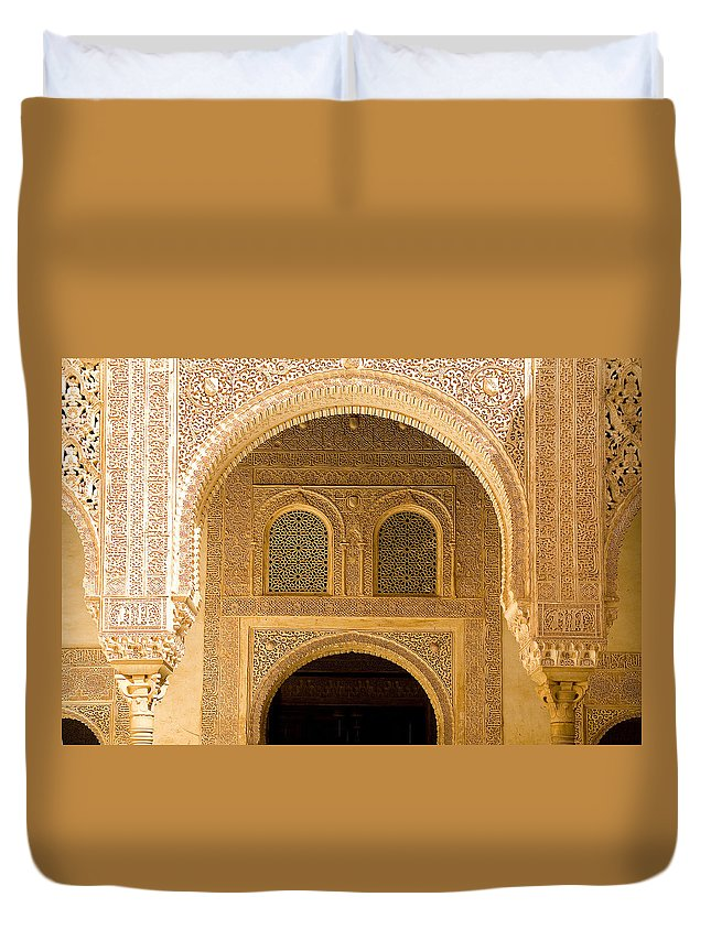 Cuarto Duvet Cover featuring the photograph Arabesque Ornamental Designs At The Casa Real In The Nasrid Palaces At The Alhambra by Mal Bray