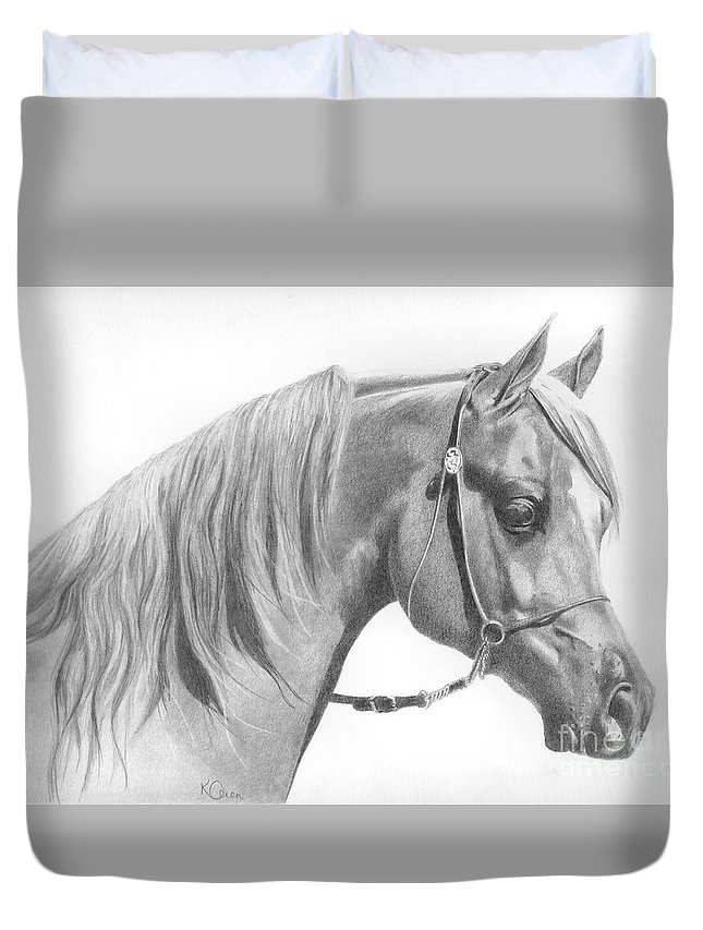 Horse Duvet Cover featuring the drawing Arabian 2 by Karen Townsend