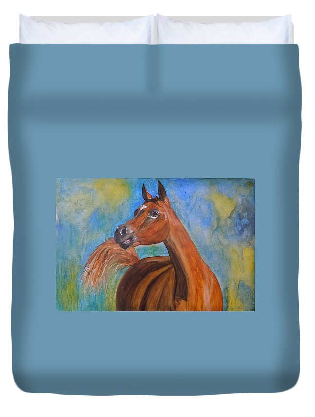 Horse Duvet Cover featuring the painting Arabian Beauty by Jean Blackmer