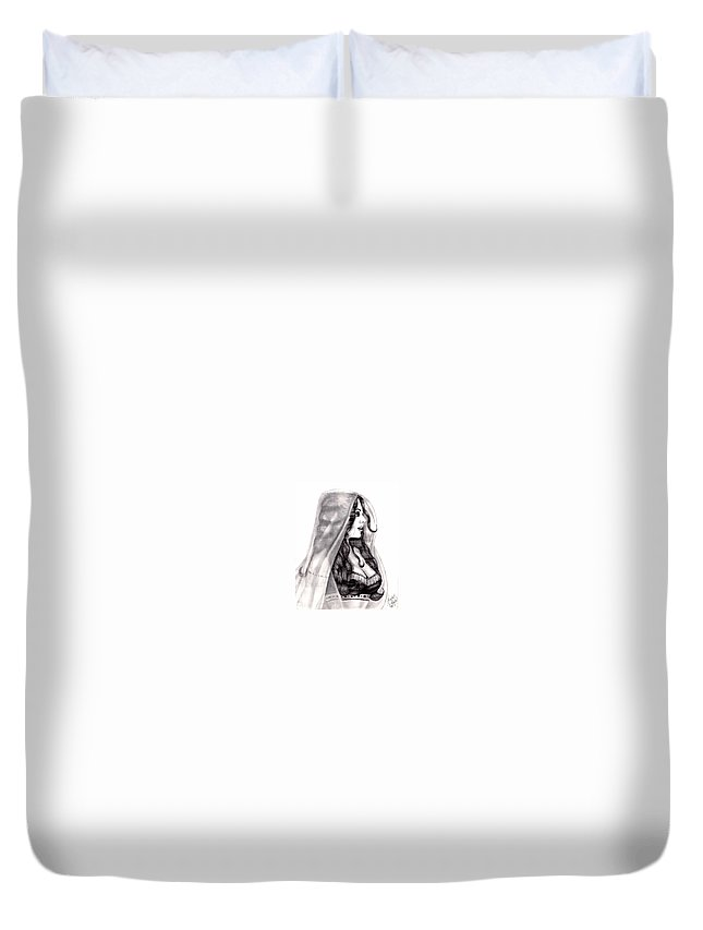 Figure Duvet Cover featuring the drawing Arabian Beauty by Scarlett Royal