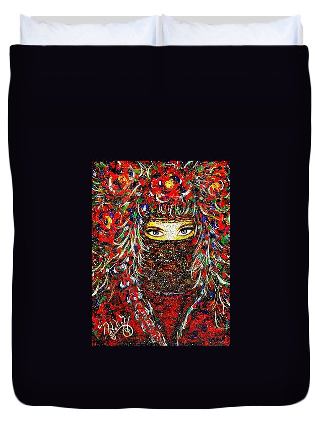 Woman Duvet Cover featuring the painting Arabian Eyes by Natalie Holland