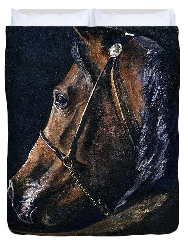 Horse Duvet Cover featuring the painting Arabian by John D Benson
