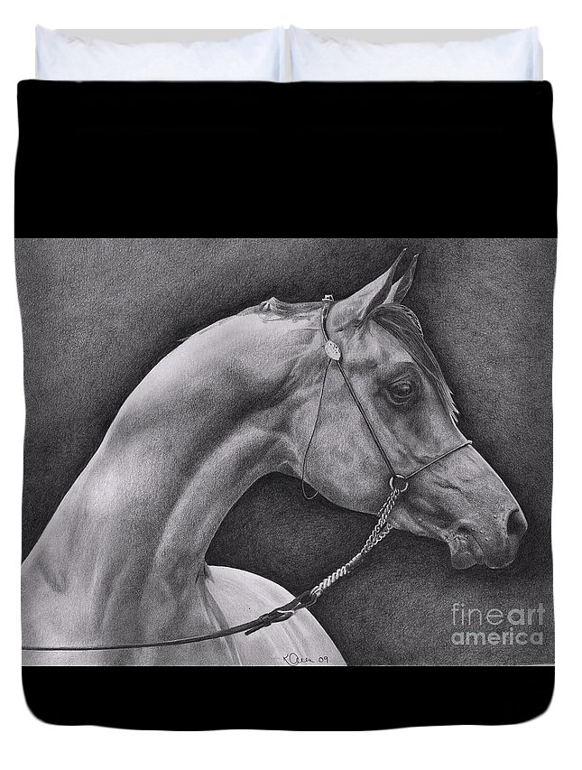 Horse Duvet Cover featuring the drawing Arabian by Karen Townsend