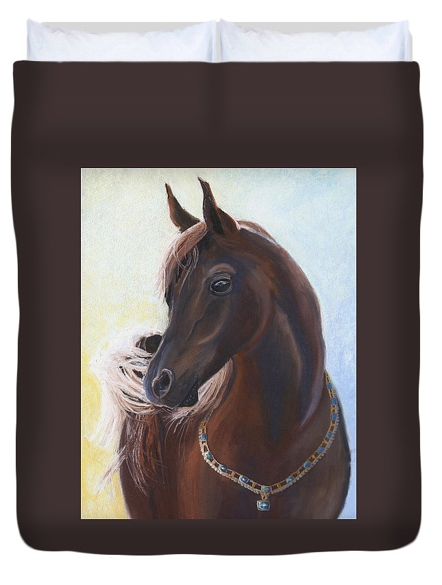 Horse Duvet Cover featuring the painting Arabian Prince by Heather Coen