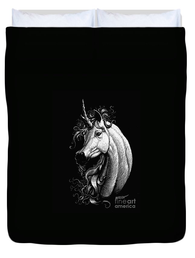 Fantasy Duvet Cover featuring the drawing Arabian Unicorn by Stanley Morrison