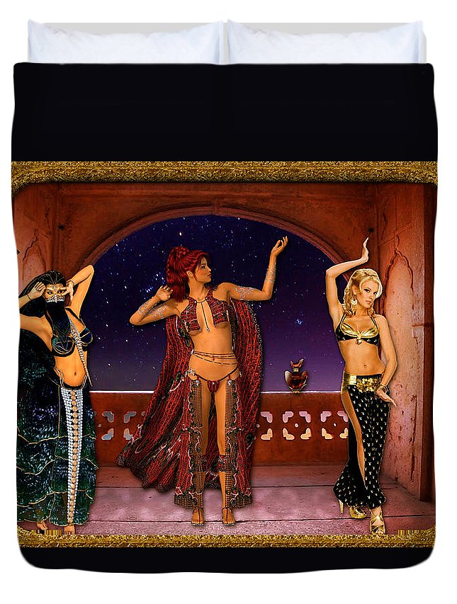 Dance Duvet Cover featuring the digital art Arabic Dancers by Austin Torney