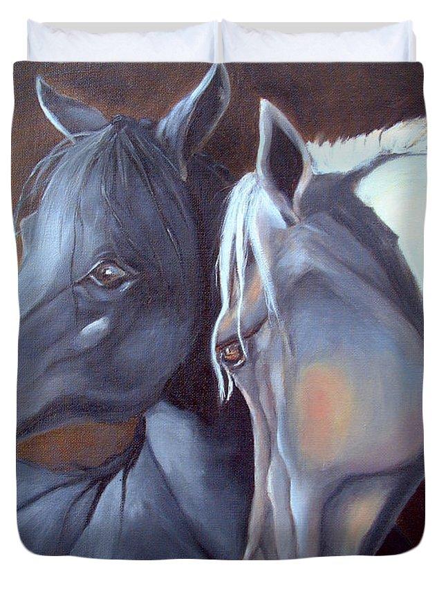 Equestrian Art Duvet Cover featuring the painting Arabique by Enzie Shahmiri