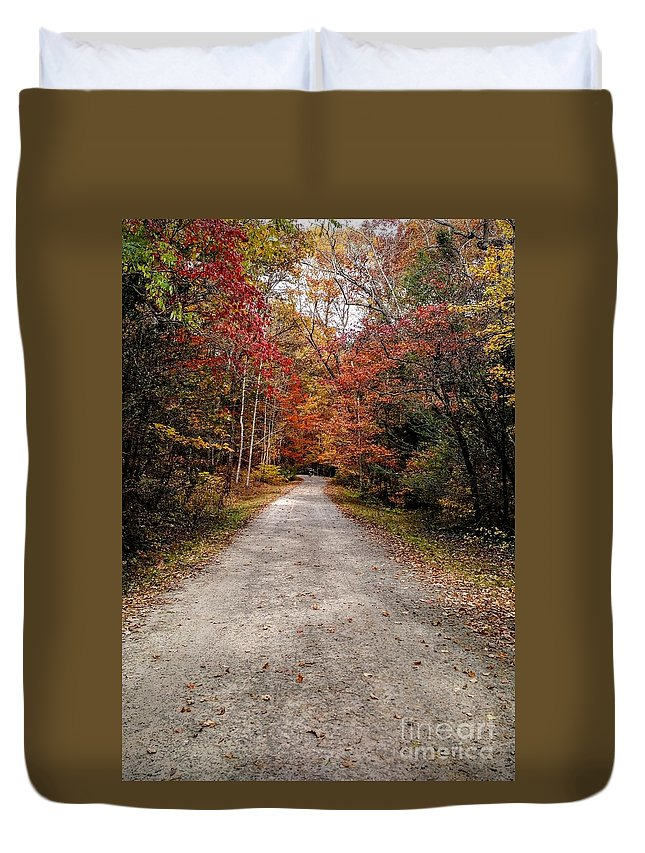 Landscape Duvet Cover featuring the photograph Arboretum Trail by Anita Adams