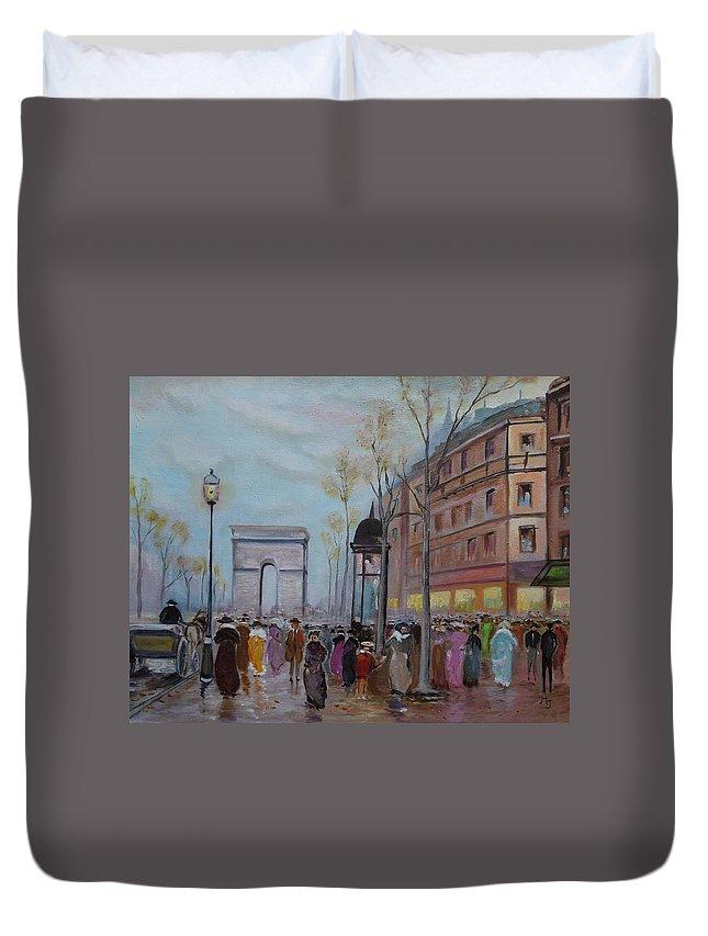 Paris Duvet Cover featuring the painting Arc De Triompfe - Lmj by Ruth Kamenev