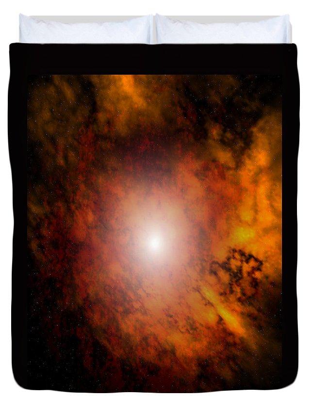 Artrage Artrageus Space Nebula Scifi Duvet Cover featuring the digital art Arca Nebula by Robert aka Bobby Ray Howle