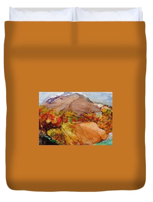 Mountain Duvet Cover featuring the painting Arcadia 2 by Susan Kubes