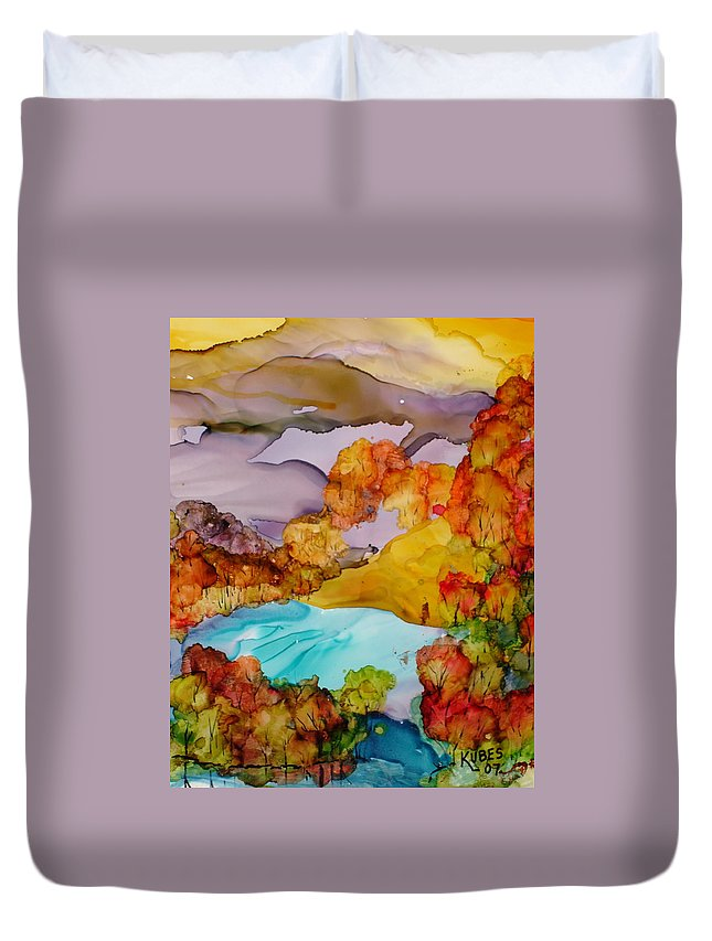 Fall Duvet Cover featuring the mixed media Arcadia by Susan Kubes