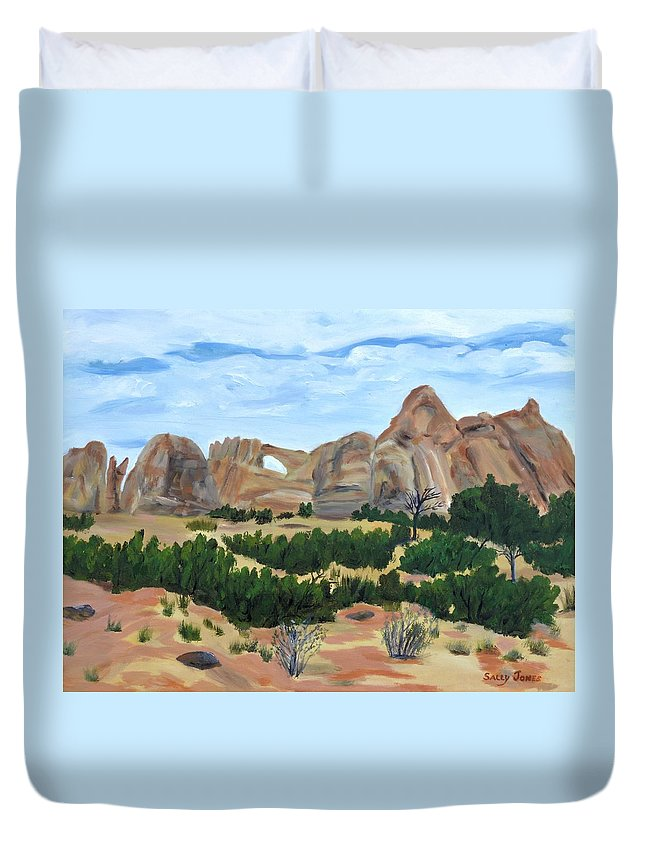 Arches National Park Duvet Cover featuring the painting Arch In Landscape by Sally Jones