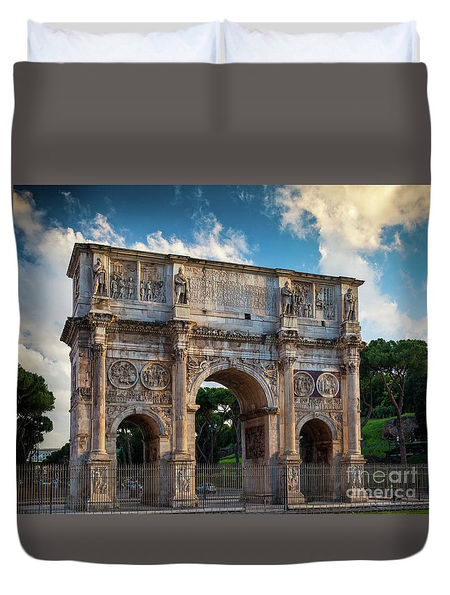 Constantine Duvet Cover featuring the photograph Arch Of Constantine by Inge Johnsson