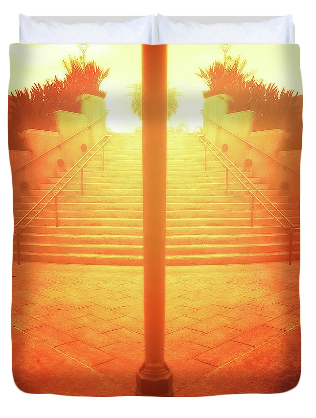 Abandoned Duvet Cover featuring the photograph Arch Steps And Light Pole Brilliant Sunrise by YoPedro