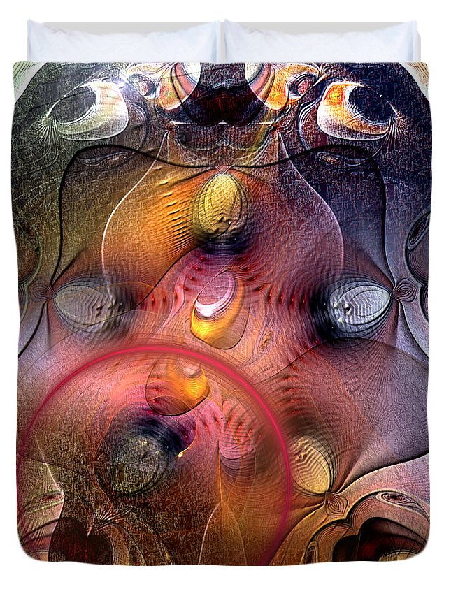 Abstract Duvet Cover featuring the digital art Archaean by Casey Kotas