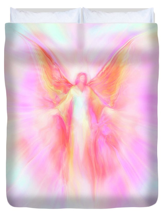 Archangels Duvet Cover featuring the painting Archangel Metatron Reaching Out In Compassion by Glenyss Bourne