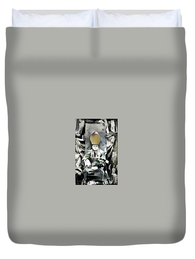 Cubist Duvet Cover featuring the mixed media Archbishop Guernica by Candee Lucas