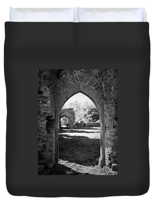 Irish Duvet Cover featuring the photograph Arched Door At Ballybeg Priory In Buttevant Ireland by Teresa Mucha