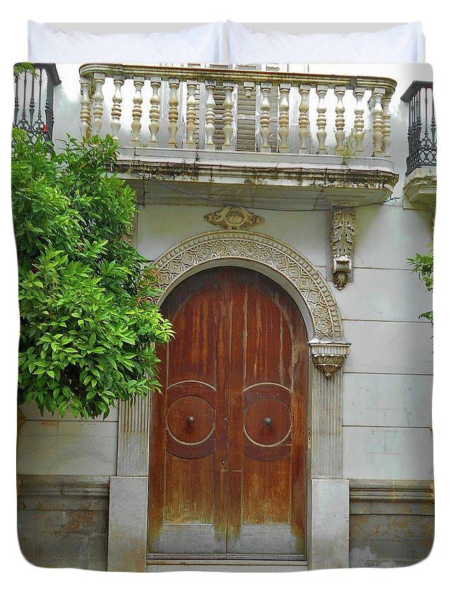 Landscape Duvet Cover featuring the photograph Arched Door Cadiz by Mark Victors
