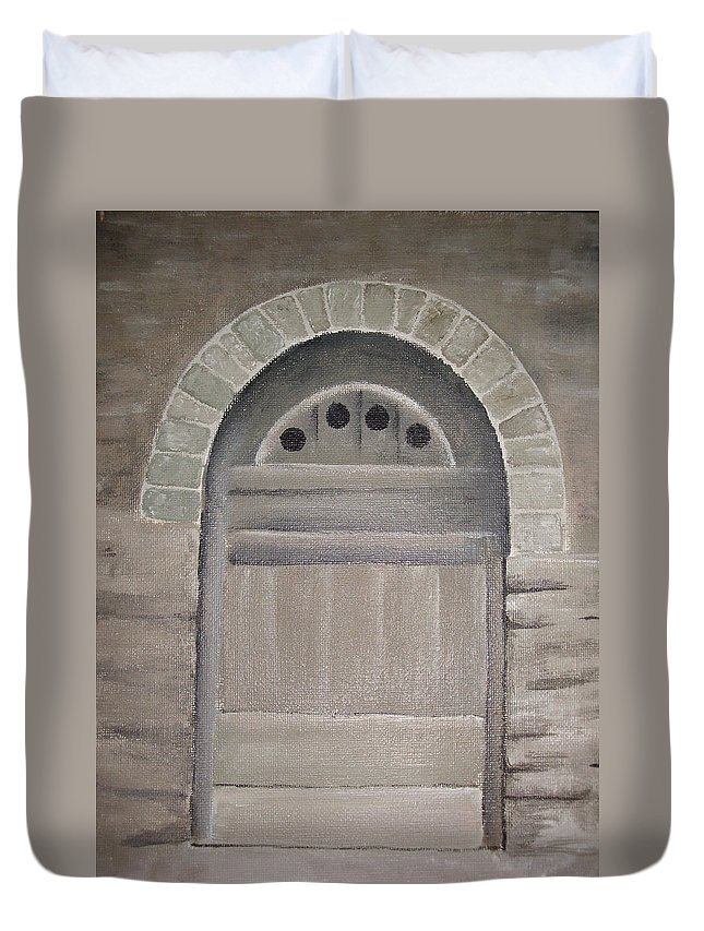 Ancient Duvet Cover featuring the painting Arched Doorway By Kim Chernecky by Kim Chernecky