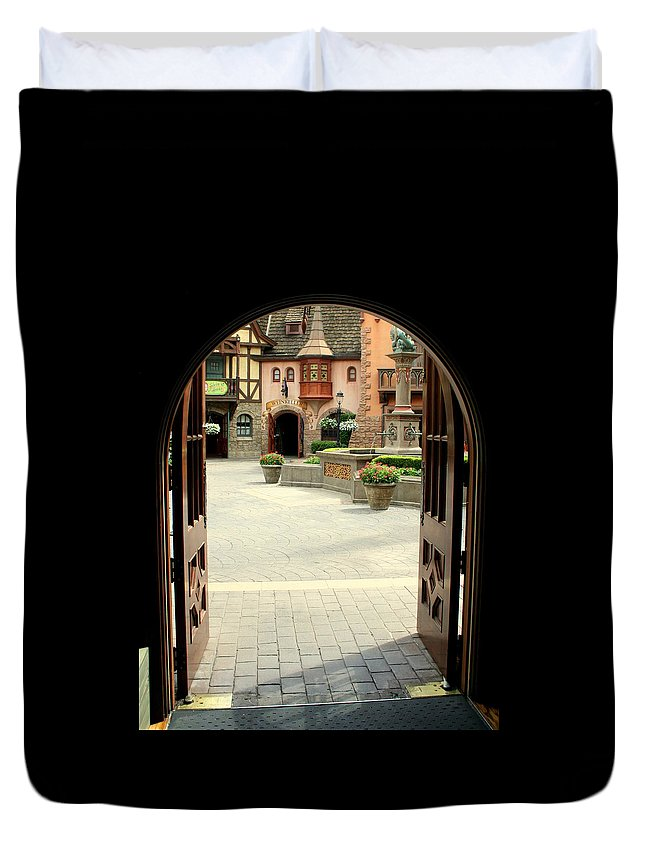 Arched Duvet Cover featuring the photograph Arched Doorway With A Bavarian View by Anita Hiltz
