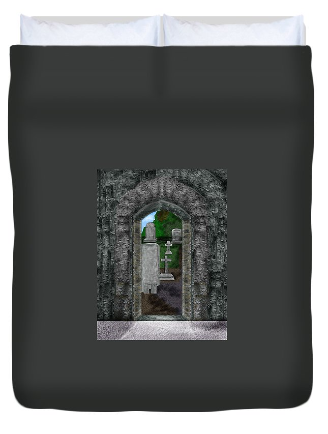 Digital Landscape Duvet Cover featuring the painting Arches And Cross In Ireland by Anne Norskog