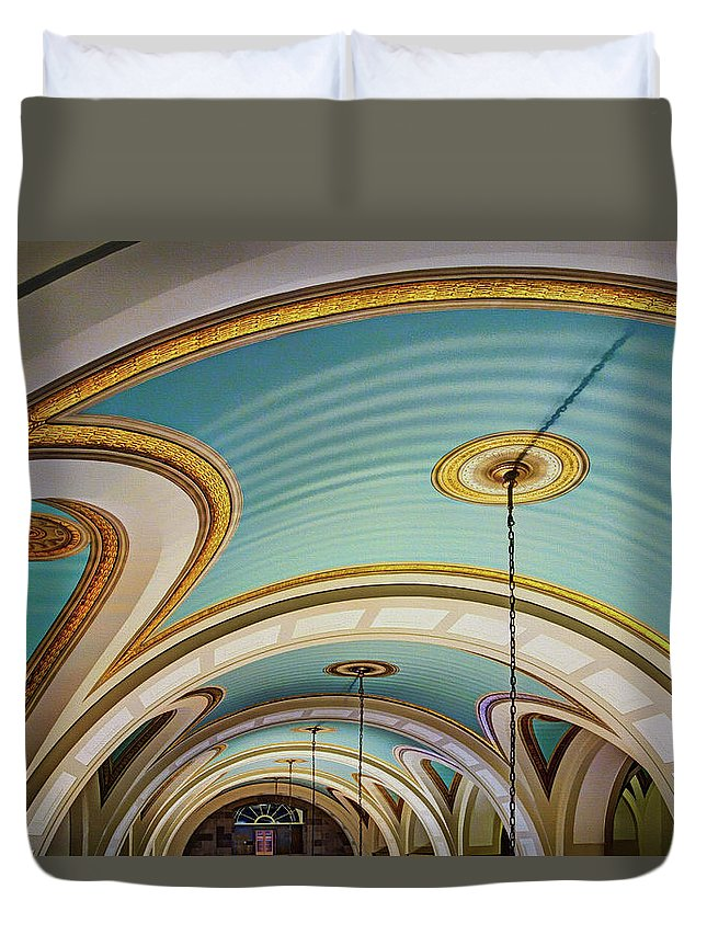 Arches And Curves Duvet Cover featuring the photograph Arches And Curves - Capitol Building - Missouri by Nikolyn McDonald