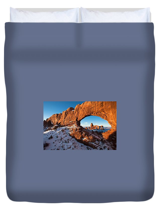Arches National Park Duvet Cover featuring the digital art Arches National Park by Dorothy Binder