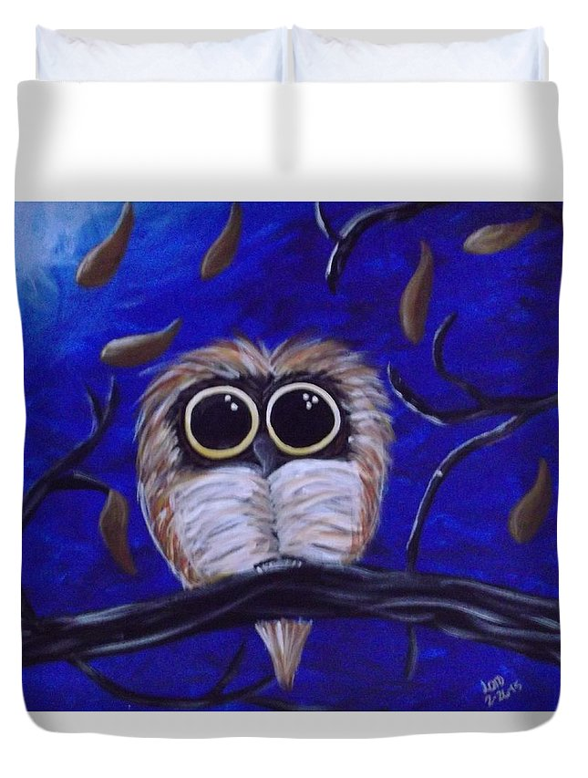 Owls Duvet Cover featuring the painting Archimedes by Bhean Spiorad