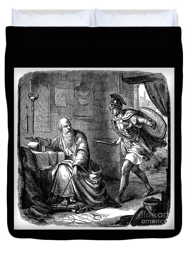 2nd Century Duvet Cover featuring the photograph Archimedes (c287-212 B.c.) by Granger