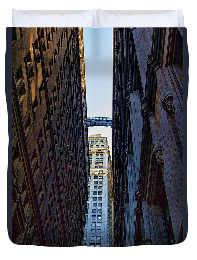 New York Duvet Cover featuring the photograph Architecture New York City The Crossing by Chuck Kuhn