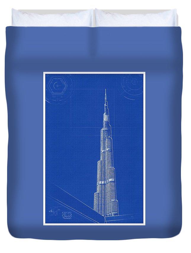Nature Duvet Cover featuring the painting Archtecture Blueprint Burj Khalifa by Archtecture Blueprint