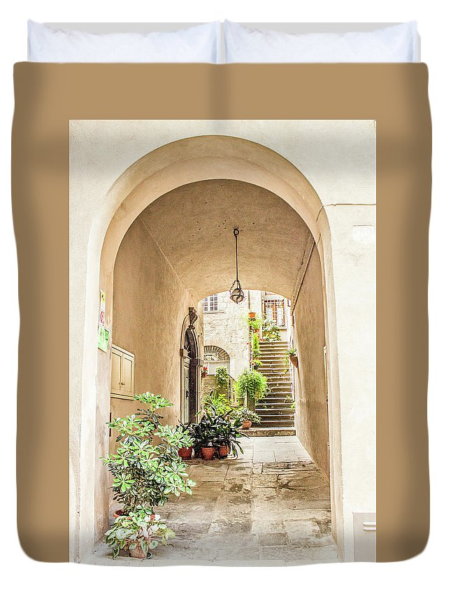 Italy Duvet Cover featuring the photograph Archway And Stairs In Italy by Lisa Lemmons-Powers