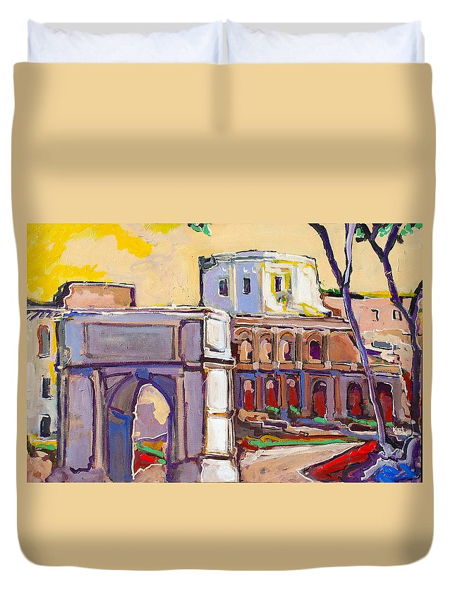 Rome Duvet Cover featuring the painting Arco Di Romano by Kurt Hausmann