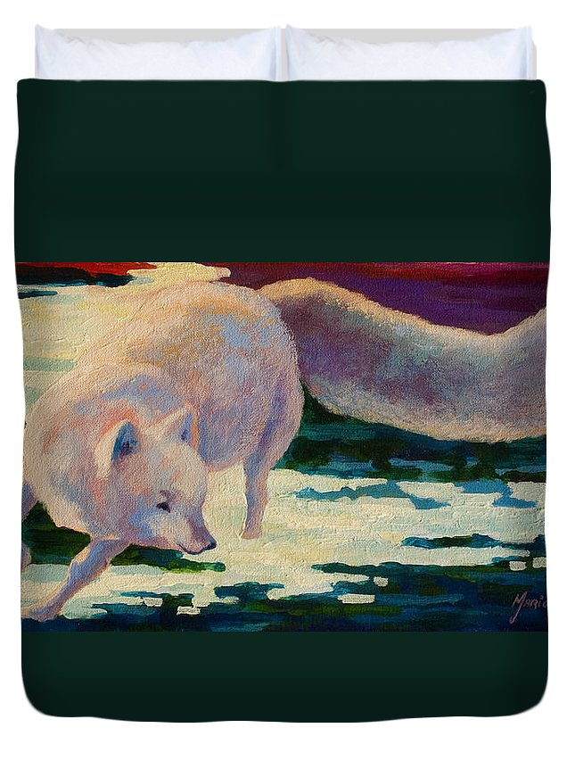 Arctic Duvet Cover featuring the painting Arctic Fox by Marion Rose