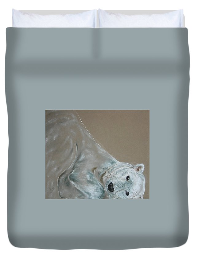 Polar Bear Duvet Cover featuring the drawing Arctic Frolic by Cori Solomon
