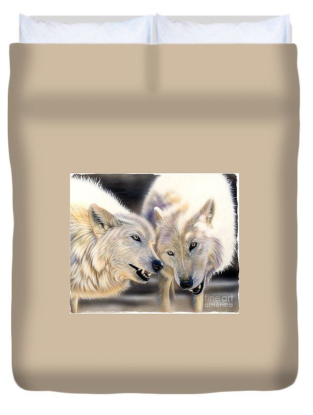 Acrylics Duvet Cover featuring the painting Arctic Pair by Sandi Baker