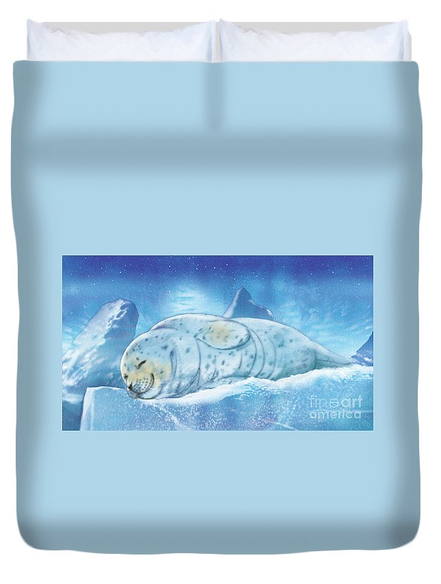 Animals Duvet Cover featuring the painting Arctic Seal by Tracy Herrmann