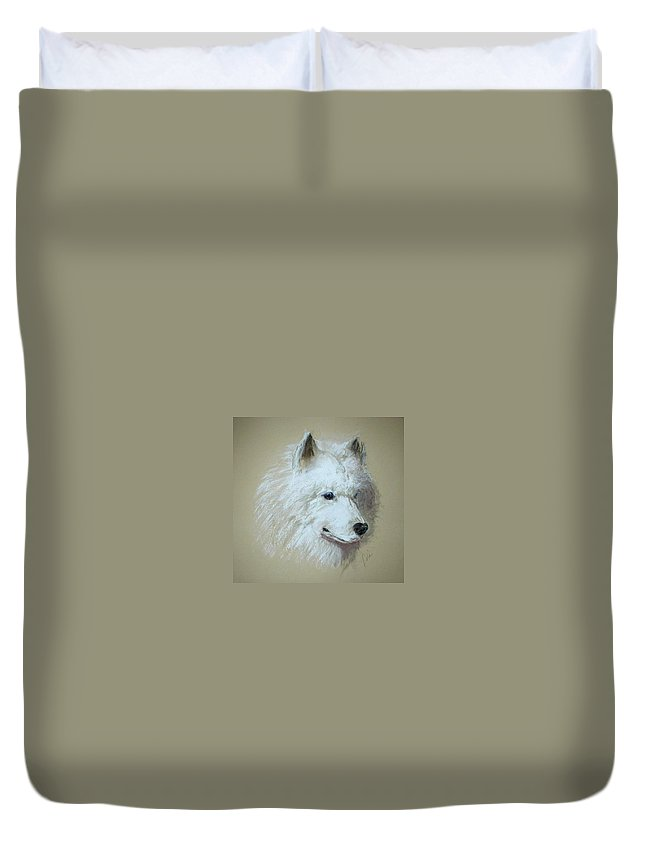 Dog Duvet Cover featuring the drawing Arctic Serenity by Cori Solomon