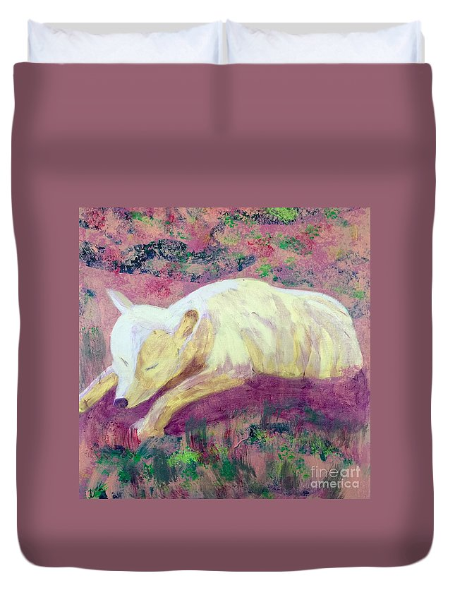 Art Portfolio Duvet Cover featuring the painting Arctic Wolf by Donald J Ryker III