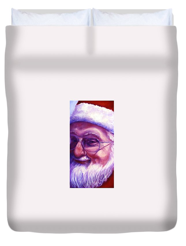 Portrait Duvet Cover featuring the painting Are You Sure You Have Been Nice by Shannon Grissom