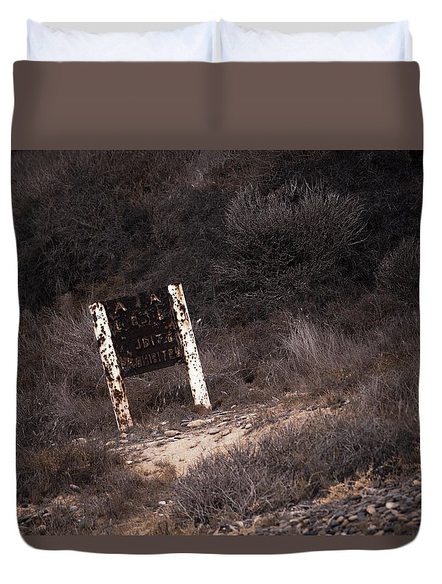 Area Duvet Cover featuring the photograph Area Closed, Nudity Prohibited by Emily Sims