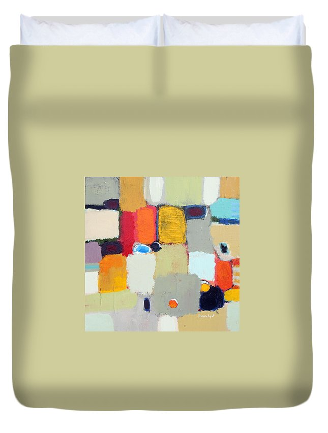 Peace Colors Abstract Modern Contemporary Duvet Cover featuring the painting Areal View 2 by Habib Ayat