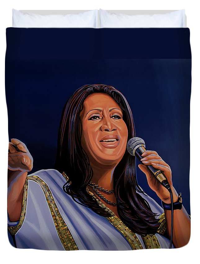 Aretha Franklin Duvet Cover featuring the painting Aretha Franklin Painting by Paul Meijering